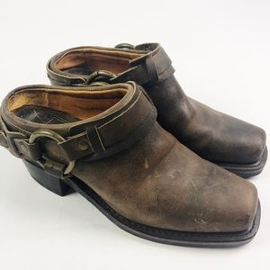 Frye Belted Harness Mules Slip On Ankle Booties